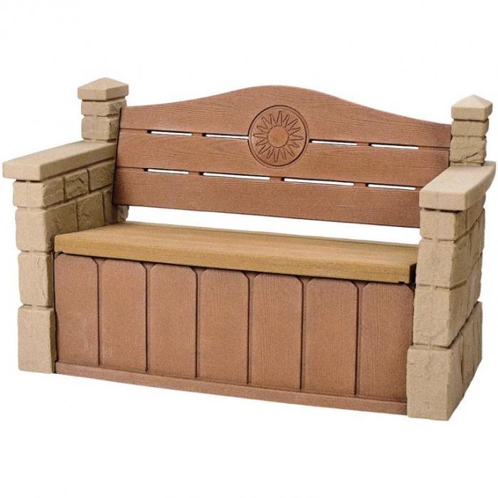 stone textured outdoor storage bench