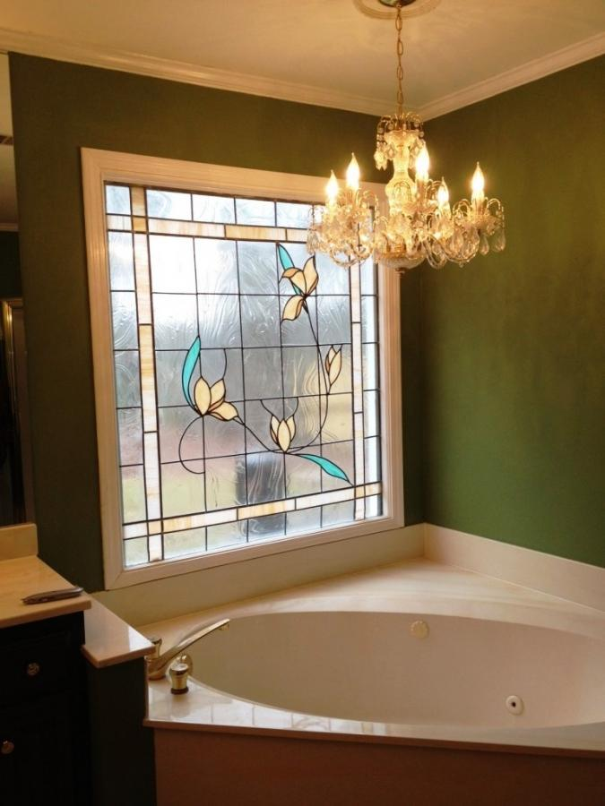 bathroom window glass. Tulip Square Stained Glass Window Bathroom