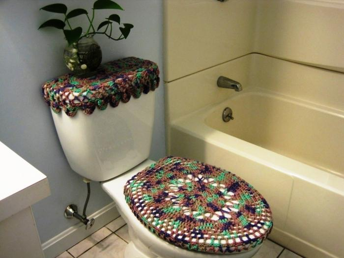 Two Colored Crochet Toilet Cover Set Part 51