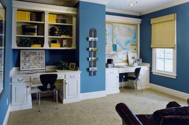 enchanting home office wall colors blue | 15 Home Office Paint Color Ideas - Rilane