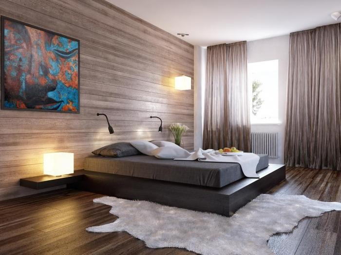 Vertical Brown Walls Modern Classic Bedroom