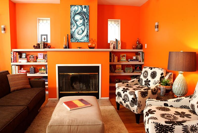 Vibrant Orange Living Room