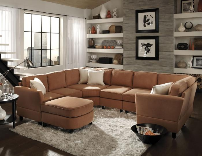 warm small living room with brown sectional - Living Room With Sectionals