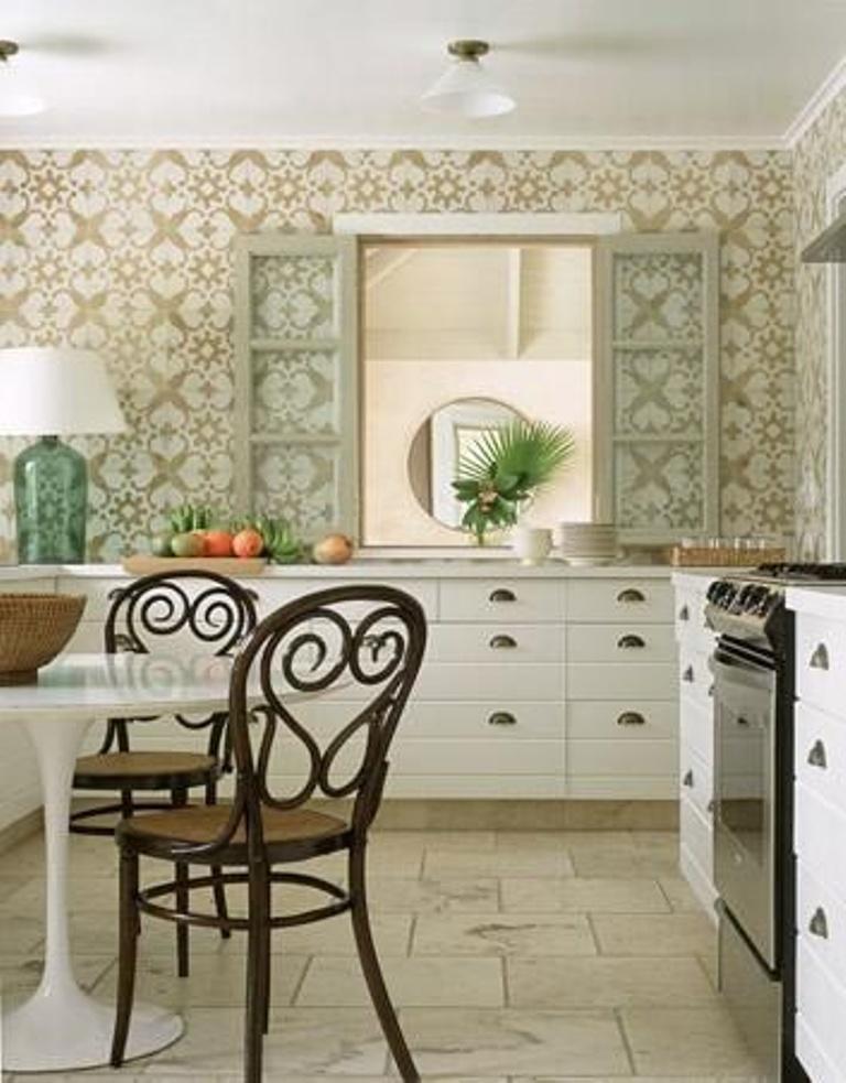15 modern kitchen designs with geometric wallpapers rilane for White kitchen wallpaper