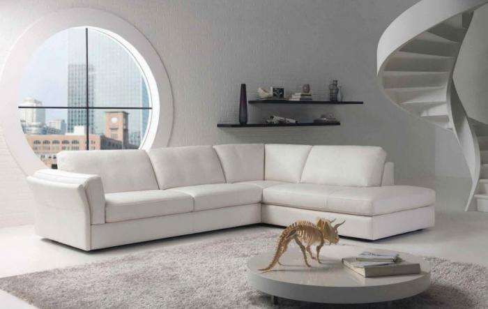 White Living Room With Leather Sectional Sofa Part 94