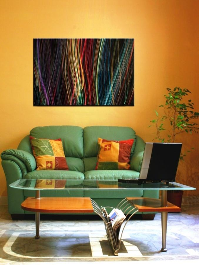 Perfect Wonderful Abstract Painting In Orange Living Room