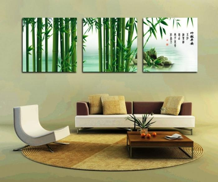 Wonderful Living Room Decoration With Asian Cream Wall Painting Design