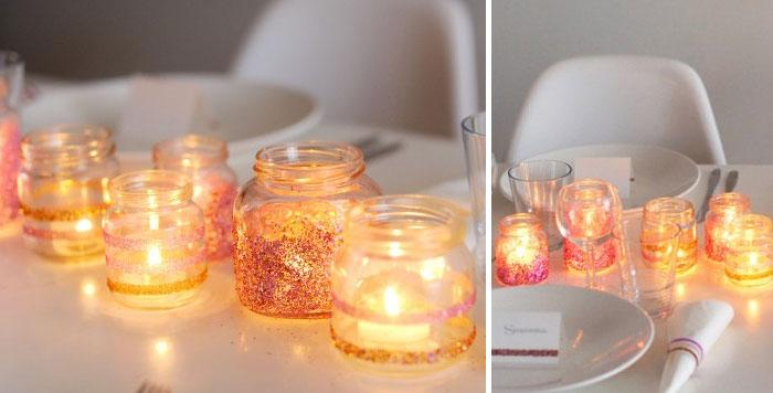 DIY Sparkly Tablescape: These little cute sparkly mason jars look really  adorable and awe inspiring. They are so easy to make and foremost your  effort will ...