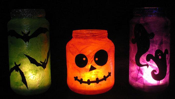Diy Mason Jar Crafts Lights Storage Vases Glitter Rilane - Best diy mason jar halloween crafts ideas