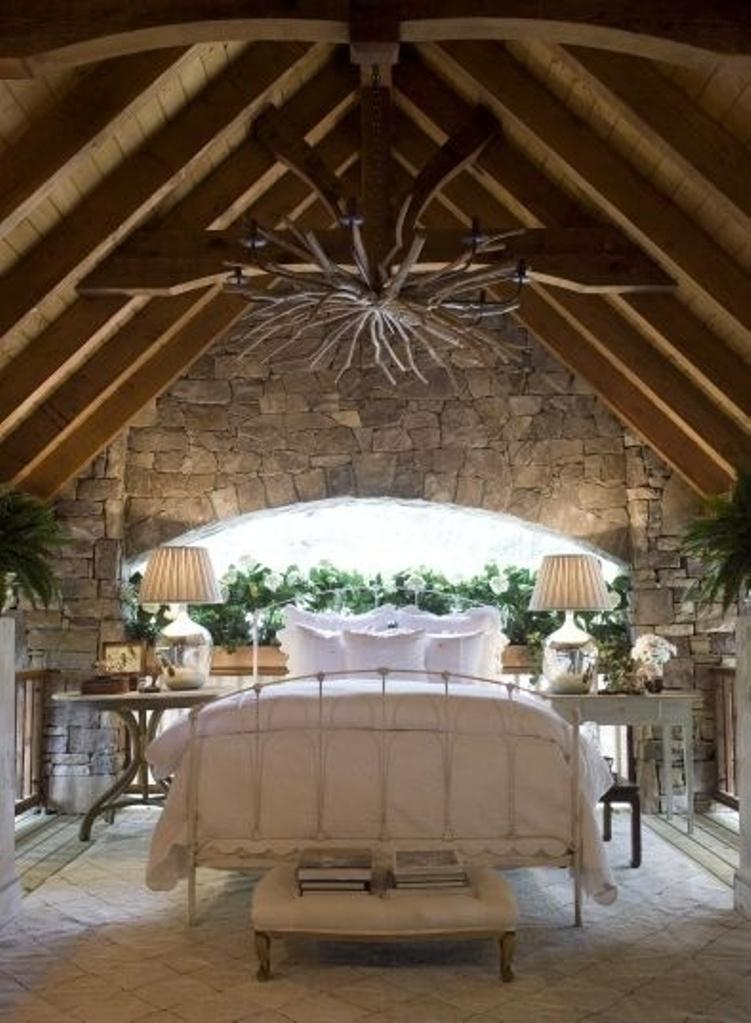 Attic Bedroom with Stone Wall