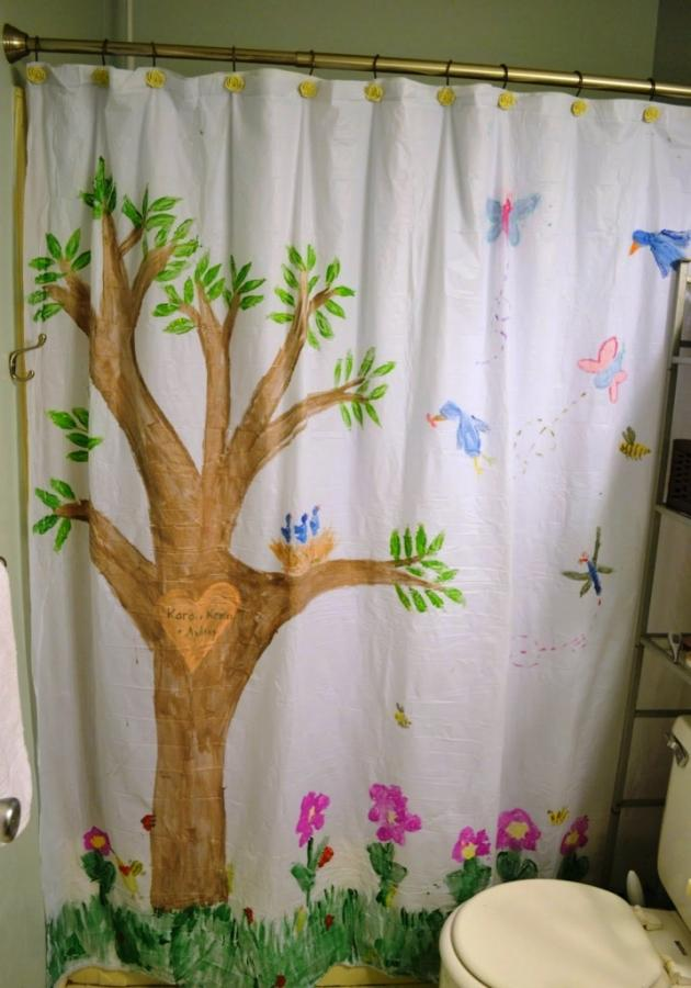 Beautiful Birds And A Tree Shower Curtain Design