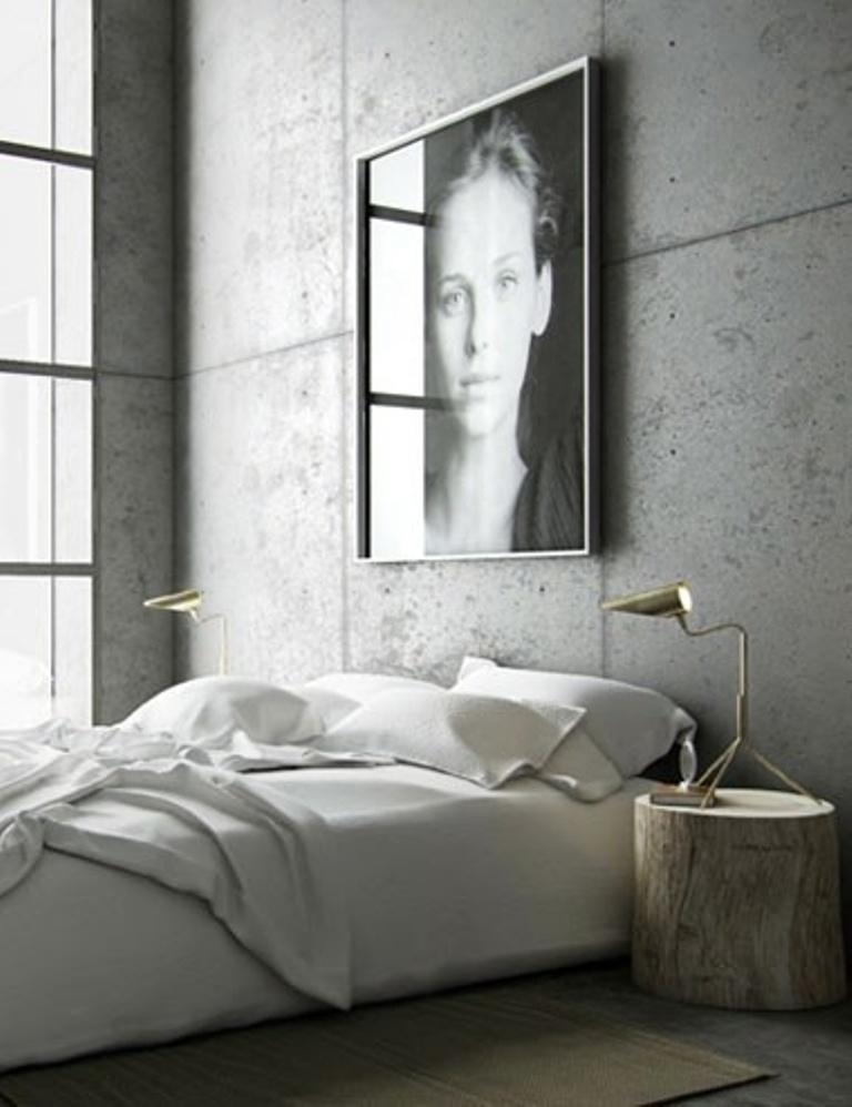 beautiful industrial bedroom - Concrete Walls Design
