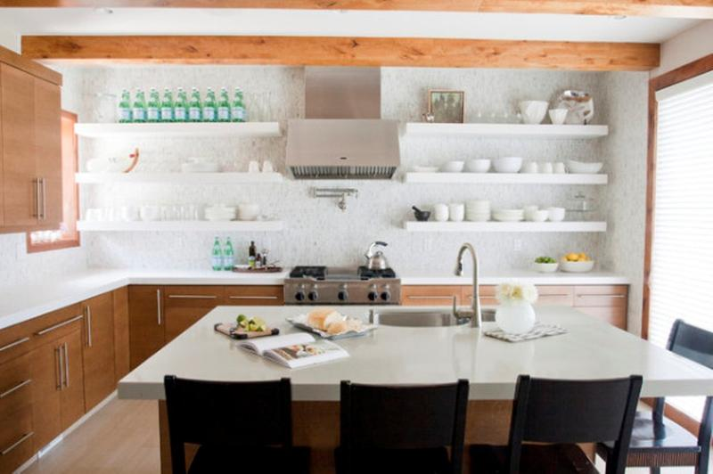 Beautiful Kitchen With White Floating Shelves