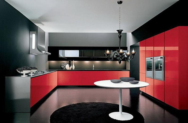 unique kitchen designs. Black and Red 15 Unique Kitchen Designs with Bold Color Scheme  Rilane