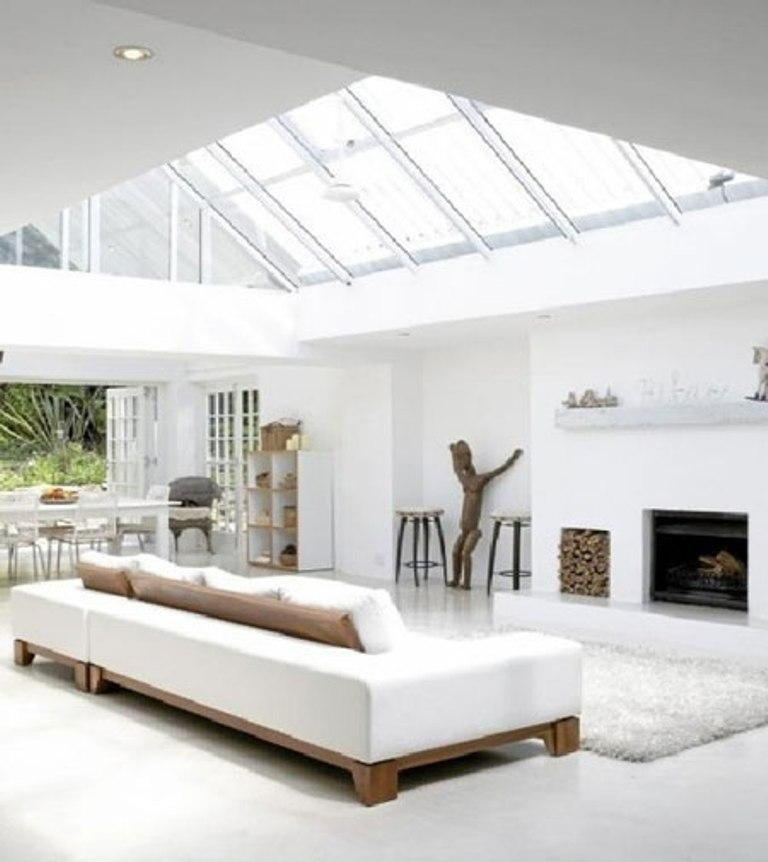 15 Serene All White Living Room Design