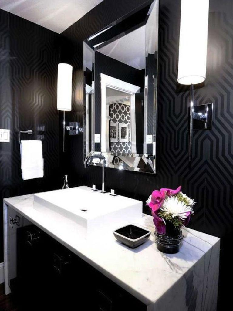 15 visually superb bathrooms with geometric wallpaper rilane for Dark bathroom wallpaper