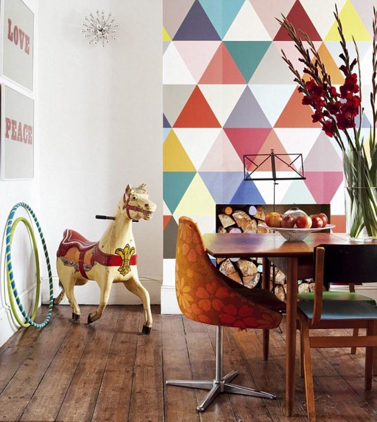Lovely 10 Modern Dining Rooms With Geometric Wallpaper