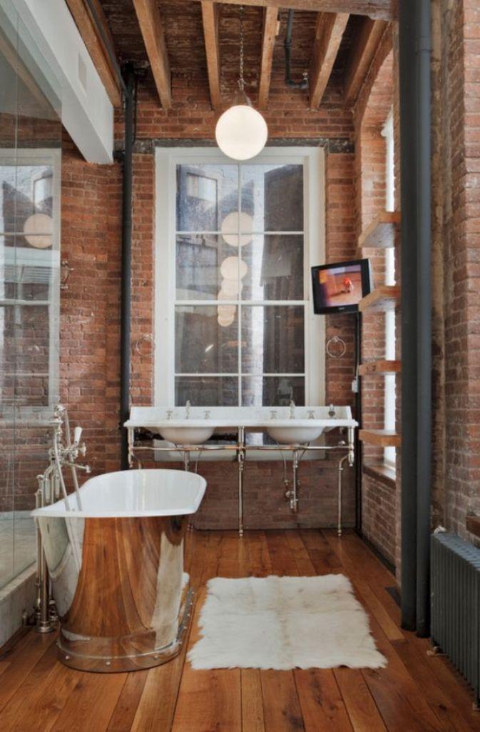 Superior Brick Walls Industrial Bathroom