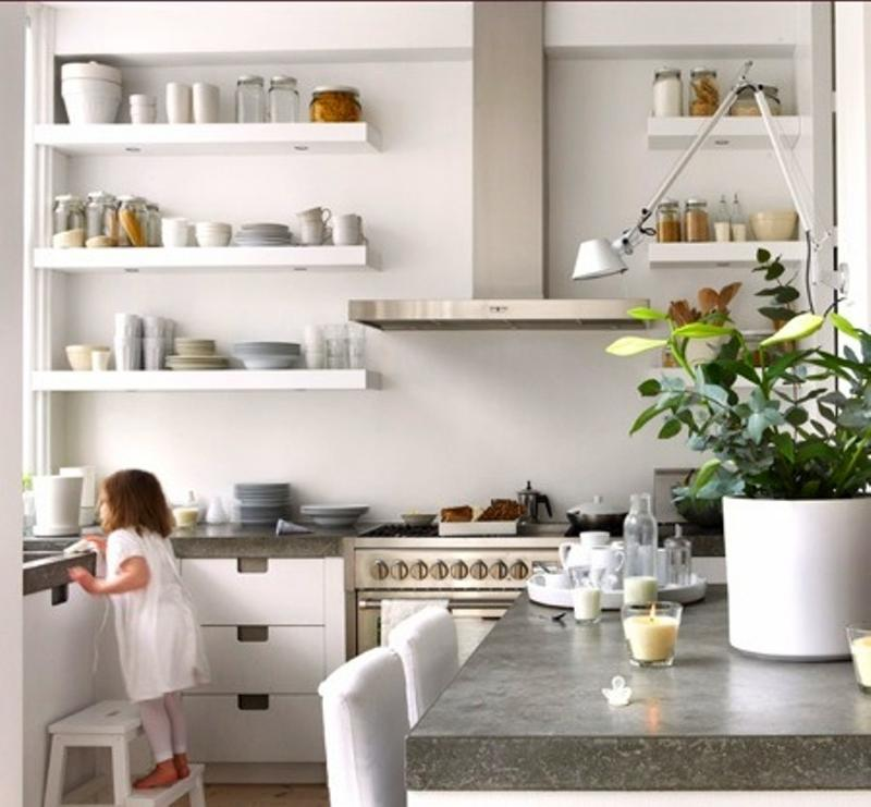 bright kitchen with floating shelves - Open Shelves Kitchen Design Ideas