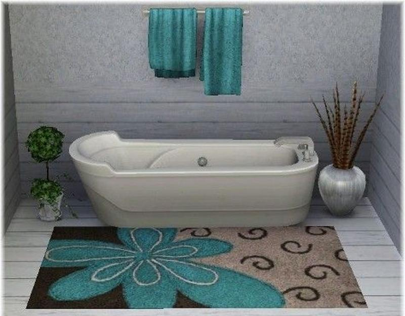 Exceptionnel Brown And Blue Bathroom Rug