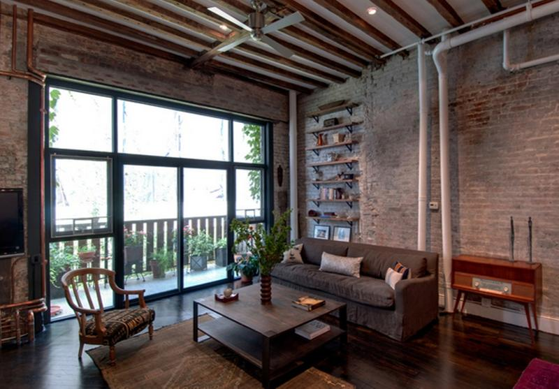 15 stunning industrial living room designs rilane for Idee deco loft new yorkais