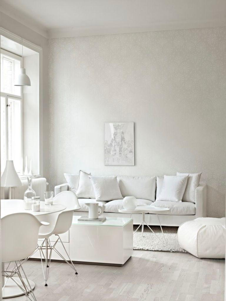 15 Serene All White Living Room Design Ideas - Rilane
