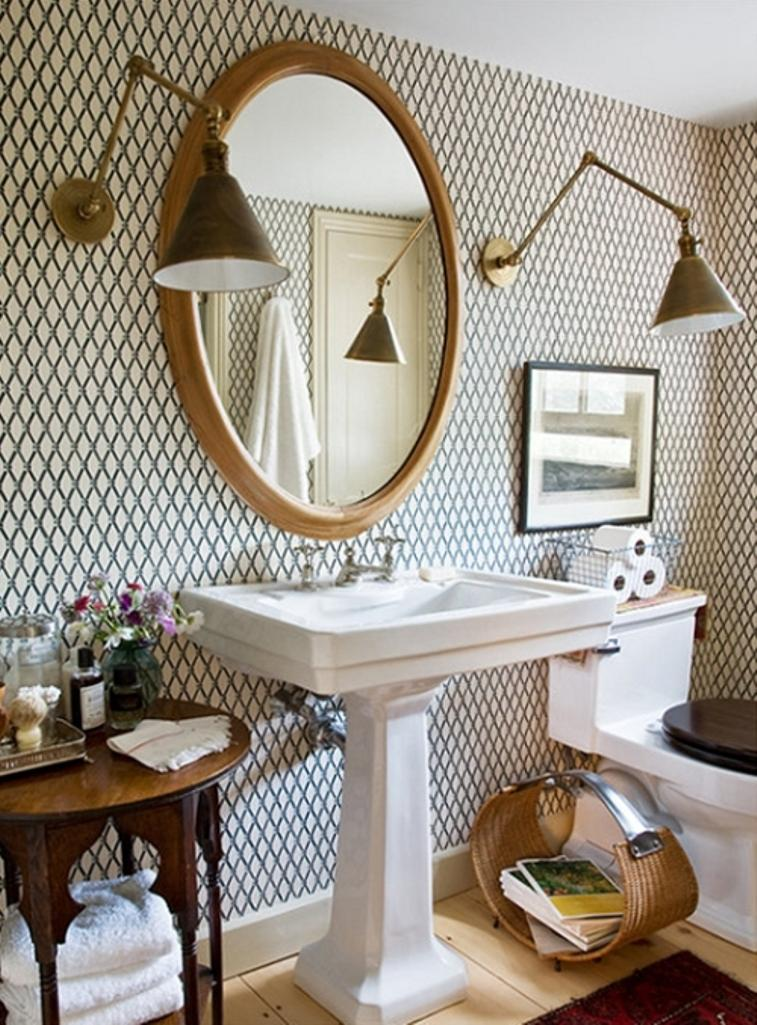 Chic bathroom with geometric wallpaper