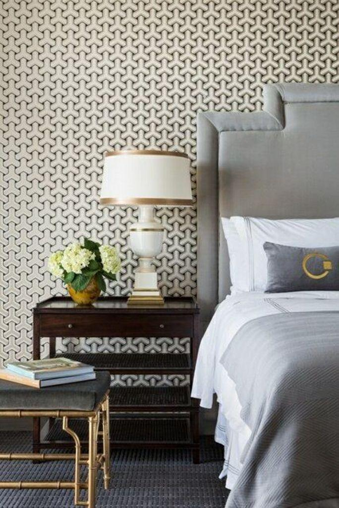 Chic Bedroom With Geometric Wallpaper
