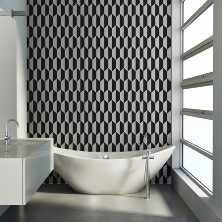 15 Visually Superb Bathrooms with Geometric Wallpaper
