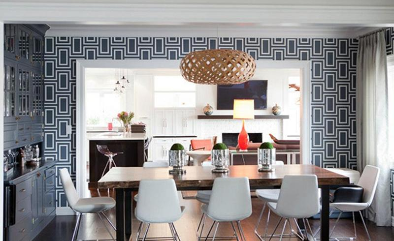 Wonderful Contemporary Dining Room With Geometric Wallpaper