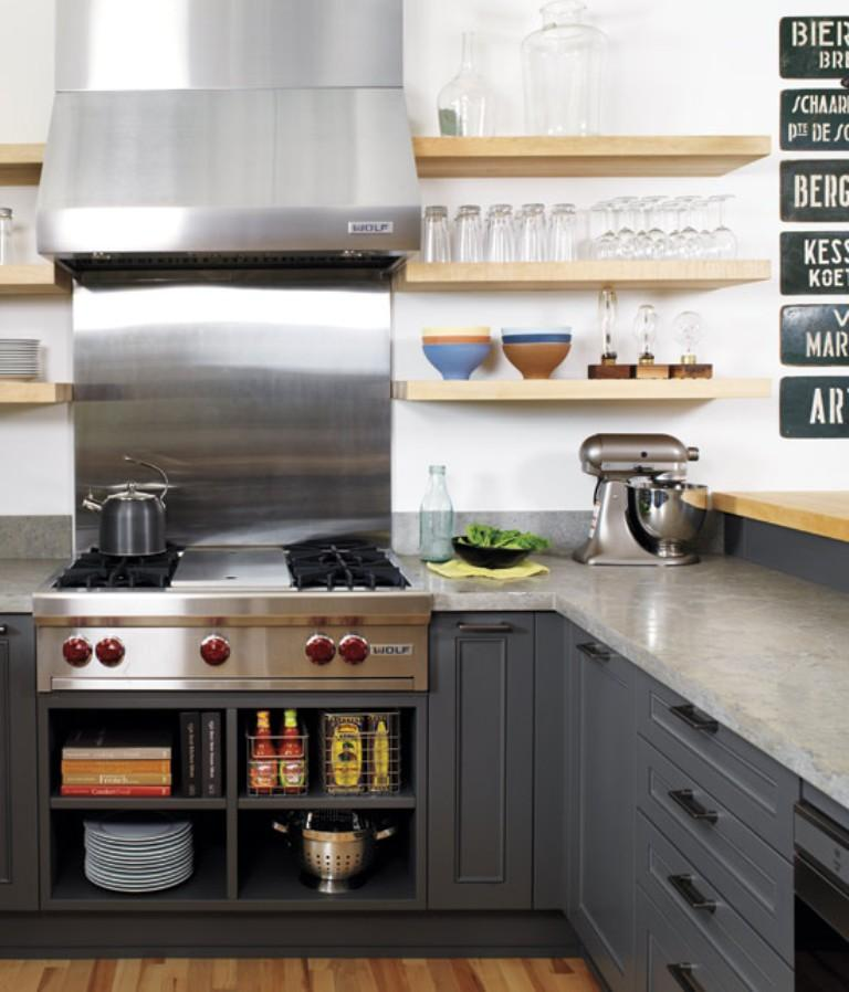 Contemporary Industrial Kitchen With Floating Shelves