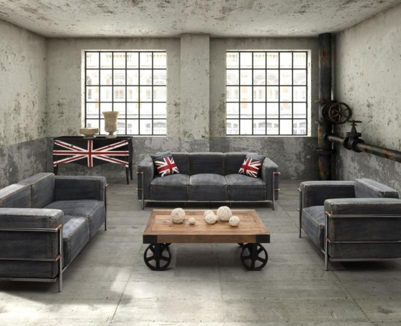 15 stunning industrial living room designs rilane for Industrial chic living room