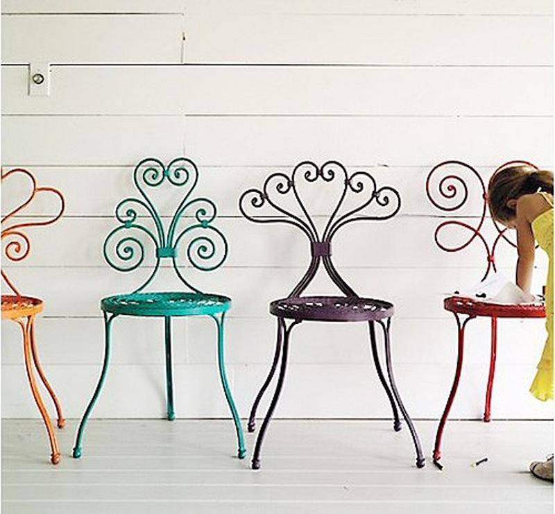 Cool Iron Colorful Kitchen Chairs