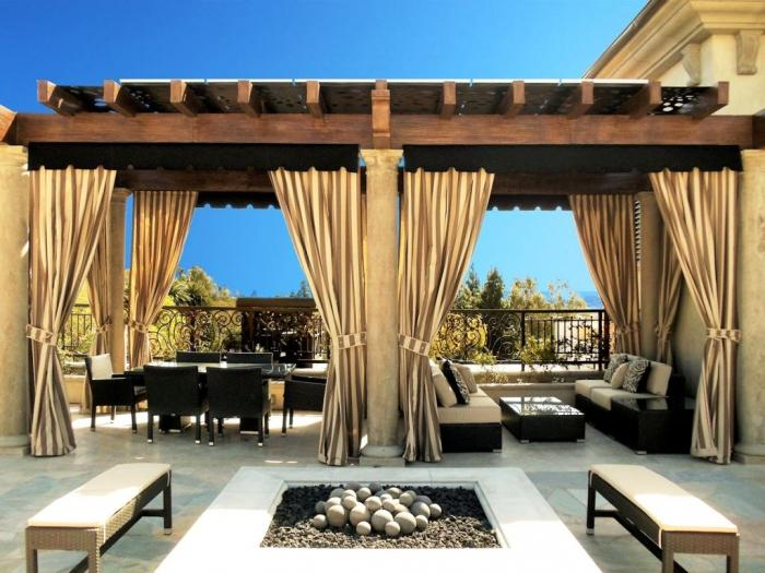 Cozy Outdoor Living Space Design With Tidy Wooden Pergola And Beige Outdoor  Curtain - 10 Relaxing Outdoor Curtain Designs - Rilane