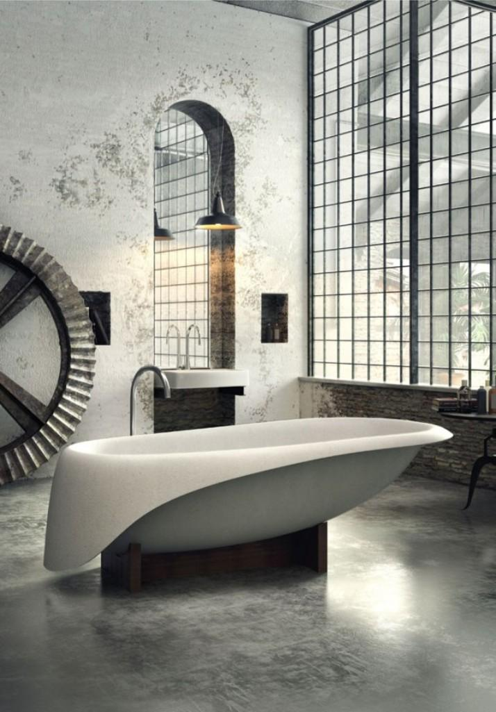 Merveilleux Dramatic Industrial Bathroom
