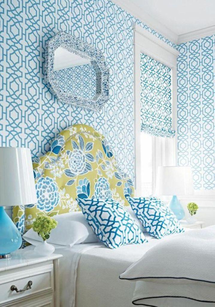Ecstatic Bedroom With Blue Geometric Wallpaper