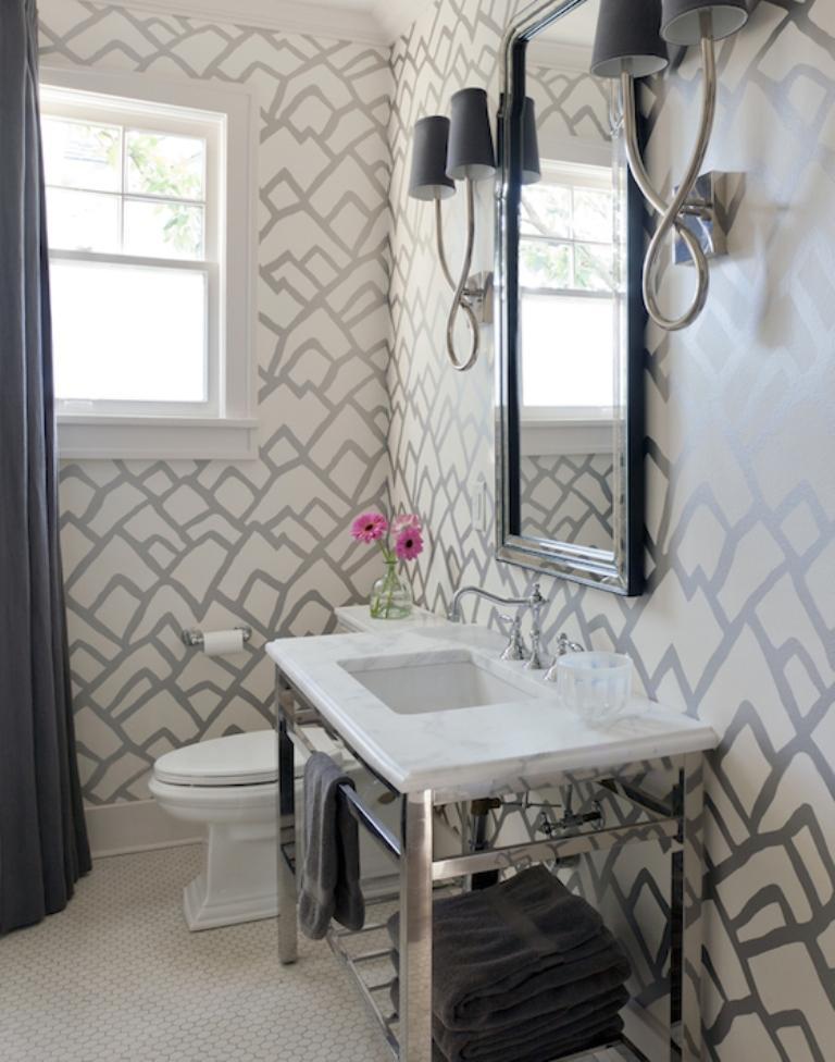 15 Visually Superb Bathrooms With Geometric Wallpaper Rilane