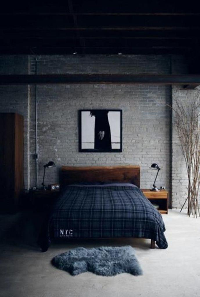 15 bold industrial bedroom design ideas rilane for Bedroom w brick wall