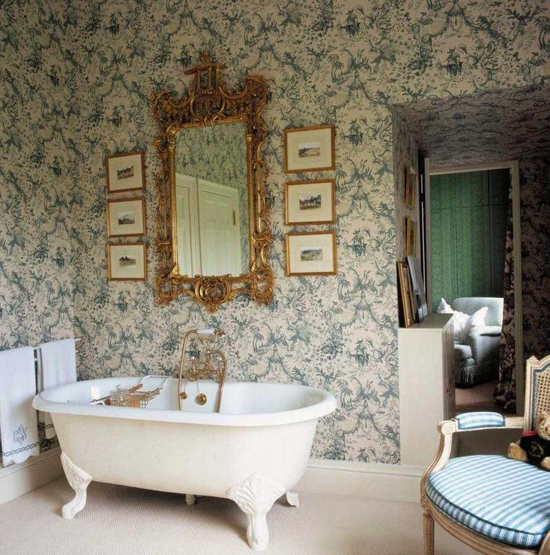 Gold And Teal Victorian Bathroom