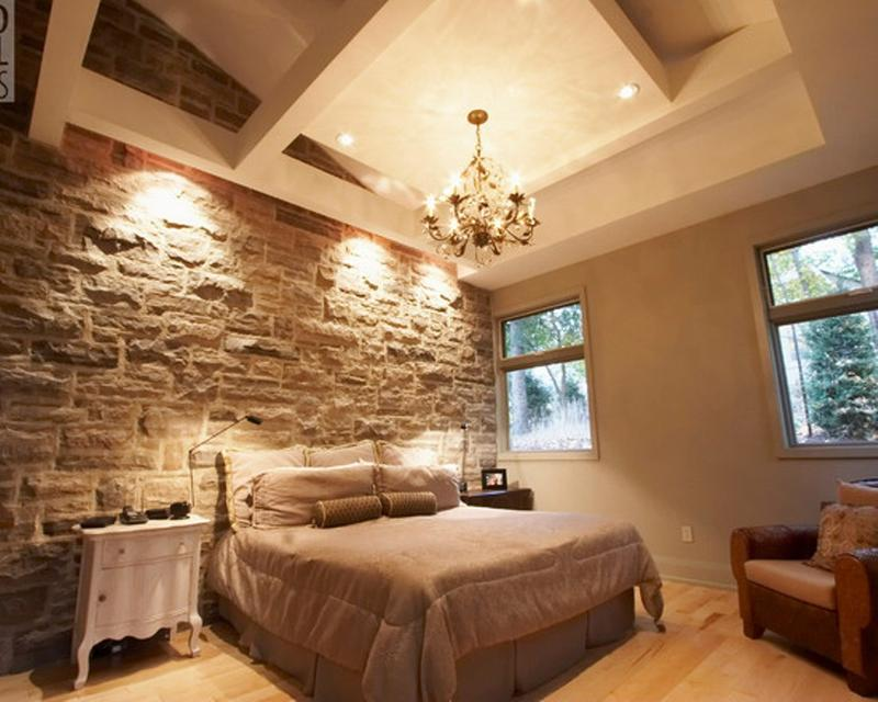 15 Natural Bedrooms With Stacked Stone Wall Nice Look