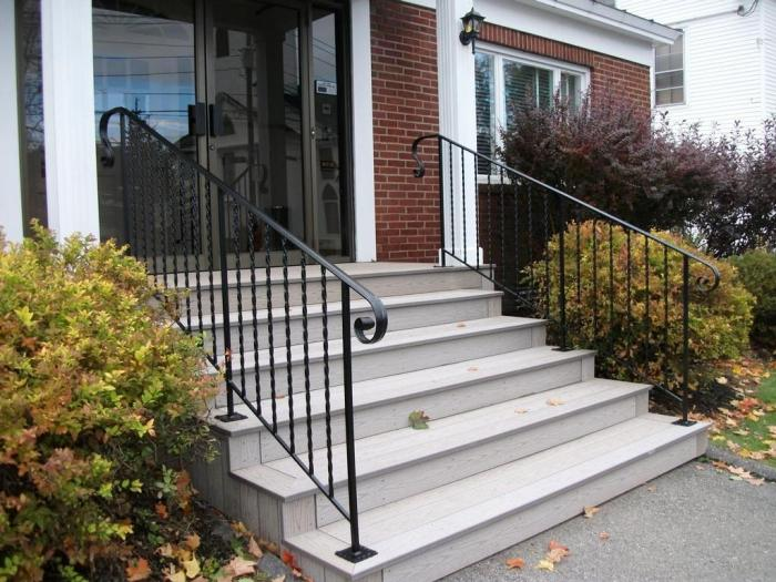 Great Gorgeous Outdoor Decorating Design Idea With Black Metal Staircase  Decoration
