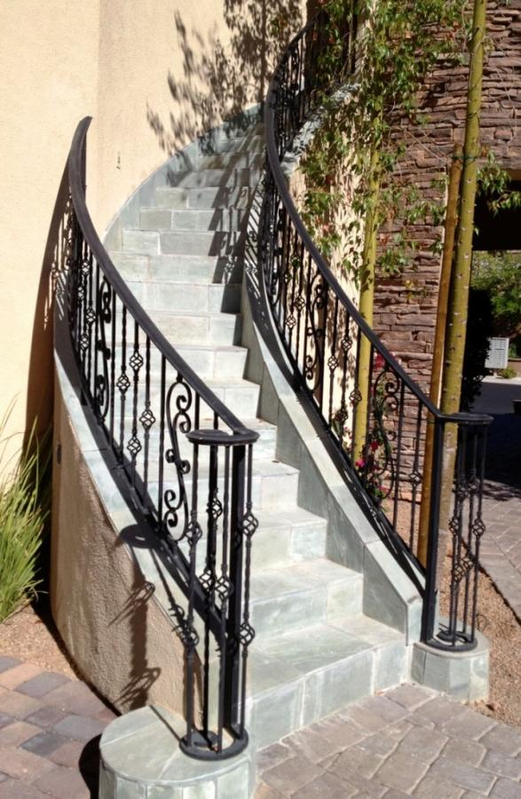 Gorgeous Outdoor Spiral Staircase With Cement Staircase Step And Black  Wroughtiron