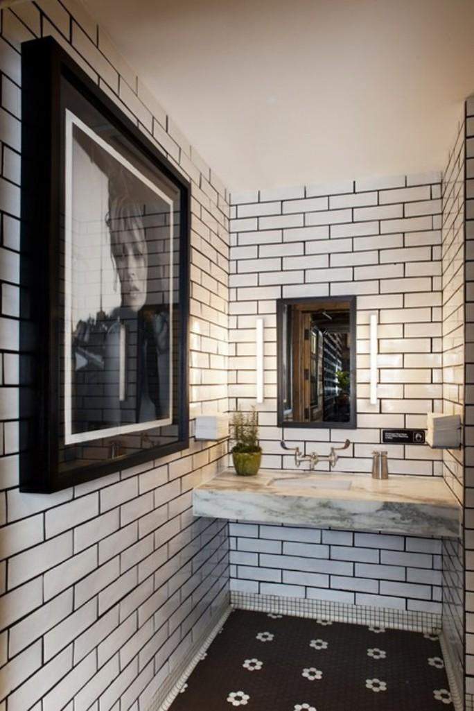 Industrial Black And White Bathroom