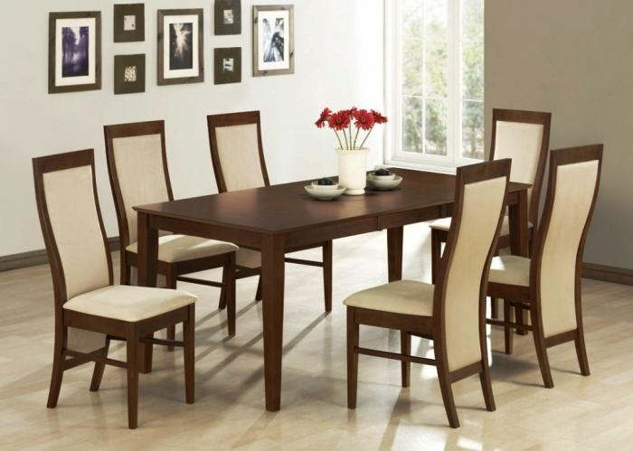 Lewis Table With Fabric Mont Timber Chairs Dining Room Set