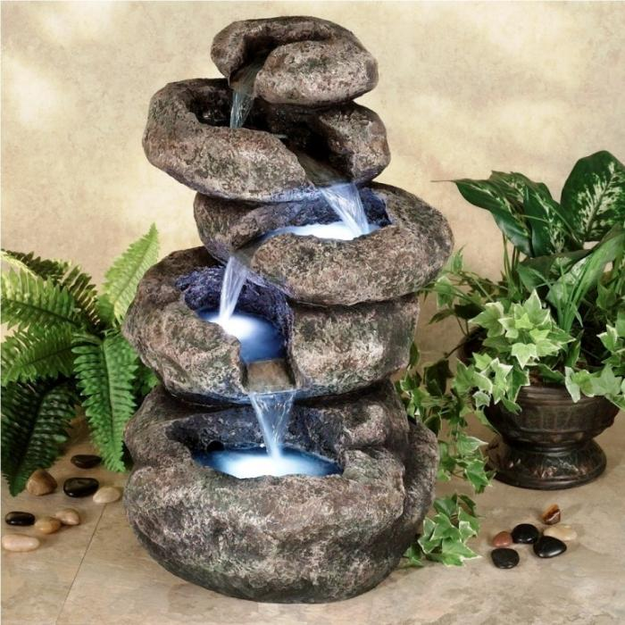 Lighted Outdoor Stone Fountain