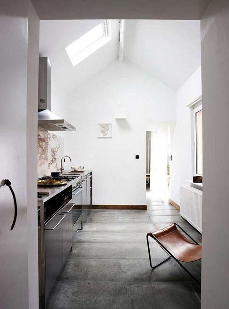 Luminous White Kitchen with Skylights