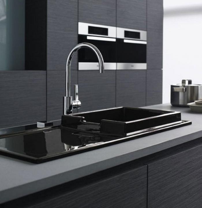 luxury kitchen sinks with grey countertop black basin long stainless