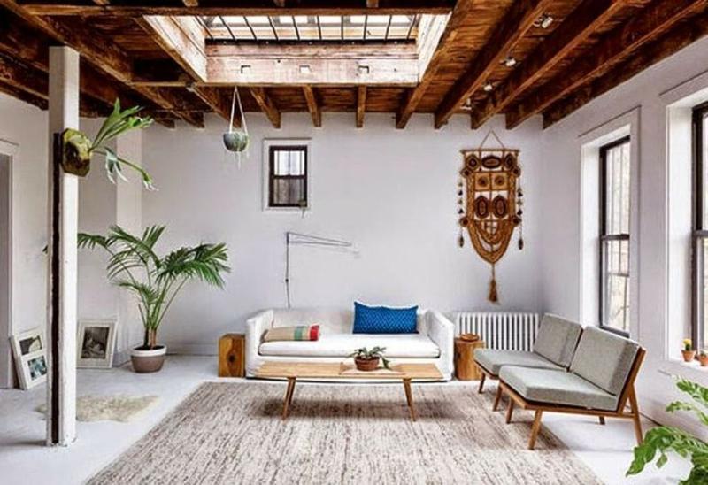 Mid Century Rustic Living Room With Skylights