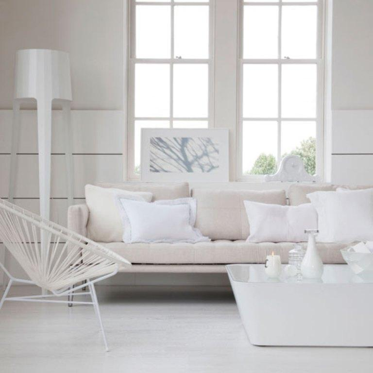 15 serene all white living room design ideas rilane Modern white living room decor