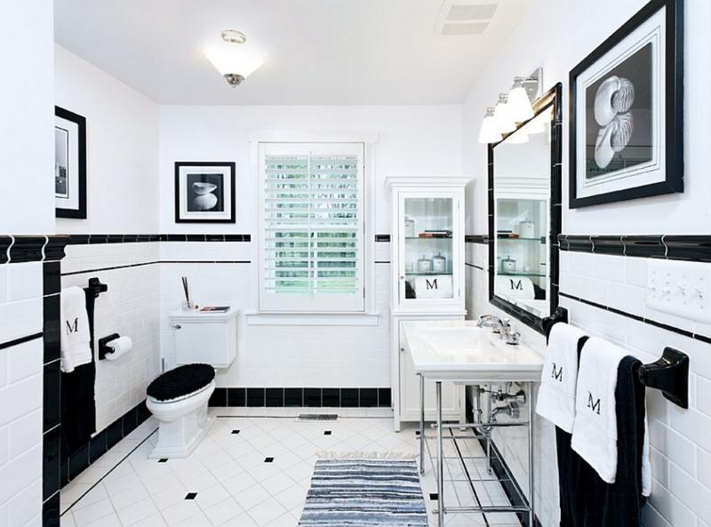 15 contemporary black and white bathroom ideas rilane for Modern black and white bathrooms